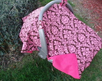 Baby Car Seat Canopy - Damask Pink and Brown