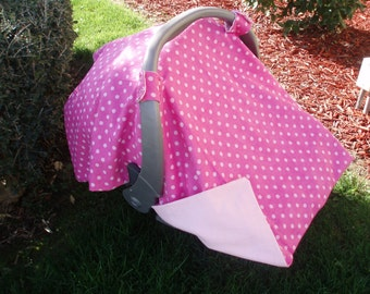 Car Seat Cover - Pink Polka Dots