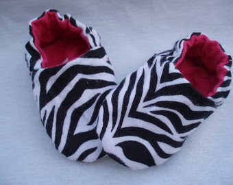 Baby Shoes Booties  Girl - Zebra and Pink