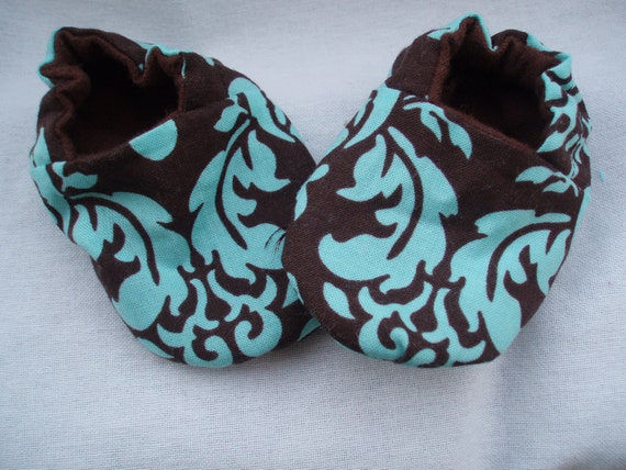 Newborn Baby Shoes Booties  Girl / Boy - Damask Brown and Turquoise