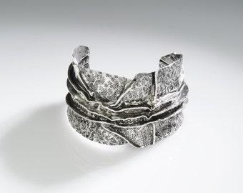 Fine Silver fold formed cuff bracelet 23 hand chased oxidized organic