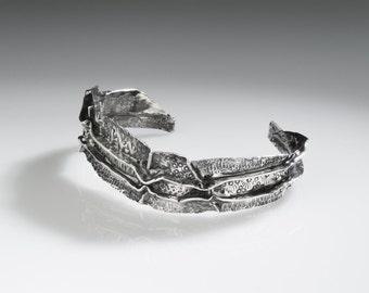 OOAK 21 Narrow Fold Formed Fine silver cuff bracelet hand chased oxidized  unique unusual