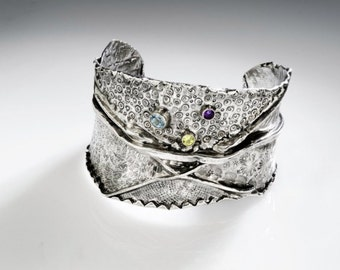 sterling silver Extra Wide CUFF bracelet fine silver fold formed cuff bracelet amethyst peridot blue topaz hand chased oxidized organic 26