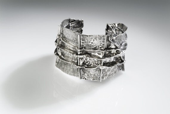 Holiday Sale number 28  OOAK Fine silver CUFF bracelet  fold formed hand chased lots of texture and oxidized
