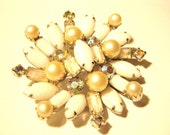 FREE SHIPPING Vintage Milkglass Rhinestone and Pearl Brooch