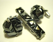 FREE SHIPPING Vintage Sarah Coventry Hematite Cuff Links and Tie Bar Set