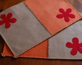Orange, red and light brown felt placemats - set of 2