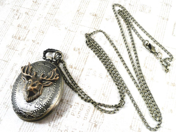 Woodland Stag Deer Antler Watch Necklace - Modern Bronze Forest Spirit Neo-Victorian Scroll Steampunk