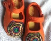50% off SALE plus FREE shipping on second item OoAk rainbow crocheted medallion on orange maryjanes size 6 girls shoes