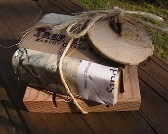 ONE Cedar Natural Wood Spa Soap Dish Gift Set Kit Includes soapdish tag tree bark  twine (soap not incluede)