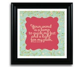 """Psalm 119:105 Art Print 8x8 ... """"Your WORD is a lamp to guide my feet..."""""""