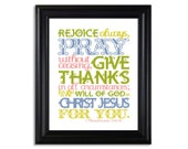 "1 Thessalonians 5:16-18 Print (8x10) ... ""Rejoice always, pray without ceasing..."" White Background w/ COLORFUL TEXT Design"