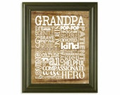 GRANDPA Father's Day Gift 8x10 Print ... Character Qualities Word Collage ... Custom Designed Art Print ... Tan & White Tones