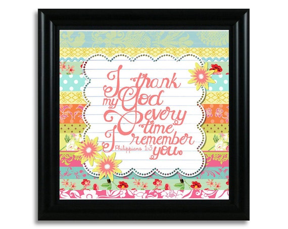 "NEW Philippians 1:3 Framed (10""x10"") Original Bible Verse Art Print ... ""I thank my God every time I remember you"""