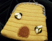 Bee skep wool felt coin purse with metal sew-on closure