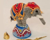 Circus Elephant Needle Felted Pincushion. Made to Order. Felted Animal Soft Sculpture