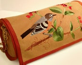 Purse: Cylindrical Embroidered Bird Design