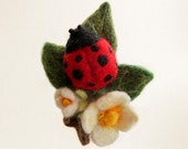 Ladybug on Leaf with Flowers Felted Wrist Pincushion