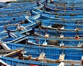 blue boats - individual postcard - images of morocco