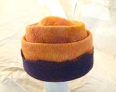 Hold for RiffRaff -Bold Orange and Blue Wool Hat Felted by Hand - Hold for RriffRraff