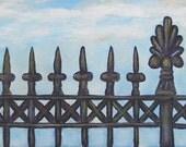 New Orleans Iron Gate Folk Art Painting Canvas