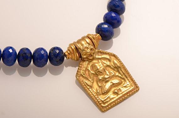 Exotic Indian Amulet and Lapis Lazuli Necklace