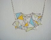 Citrus and blue geometric triangle necklace