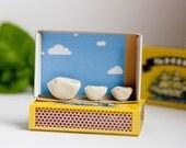 Shadow box bird matchbox diorama three little birds miniature porcelain sculpture tiny