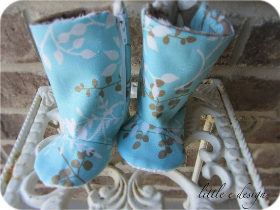 Blue winter Baby boots- non slip sole- new baby girl- newborn to toddler- soft minky flowers, January