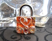 Embellished mini lock,working lock,lock and key, lock with  swirls and a heart
