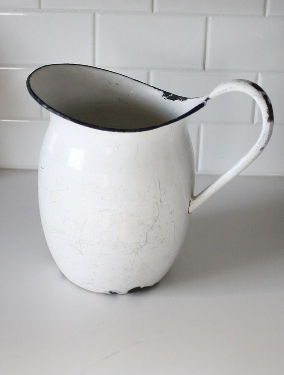 Vintage Enamel Water Pitcher White