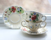 Classic hand-painted Italian tea for two set