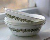Cute green flowered bowls, Corelle. Set of four