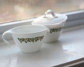 Cute green flowered cream and sugar set, Corelle.