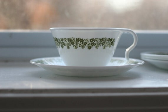 Cute green flowered teacups, Corelle. Set of four