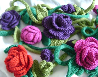 Crochet Rose Lariat Scarf or Necklace with Knitted Stem Pattern with Optional Felting Instructions