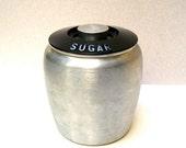 Vintage Canister, Kromex.  1950s, Sugar Container.  Mod Urn Shape, Turned Aluminum, Vintage Display, Storage, Photo Prop.