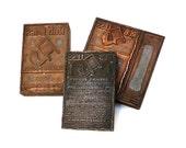 Vintage PRINTERS BLOCKS, 1920s Advertisement.  Set of 3 Copper Printing Plates, Washing Powder, Letterpress Stamp, Instant Collection.