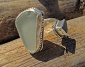 Sea Glass Sterling Silver Bypass Ring/ Design  your own.