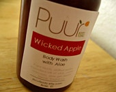 Wicked Apple Natural Body Wash with Aloe and Jojoba Beads 4oz VEGAN SLS Free Bubble Bath