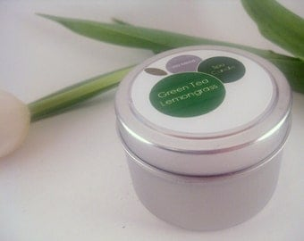 Green Tea Lemongrass Travel Size Candle Soy Blend Candle in Silver Tin 4oz