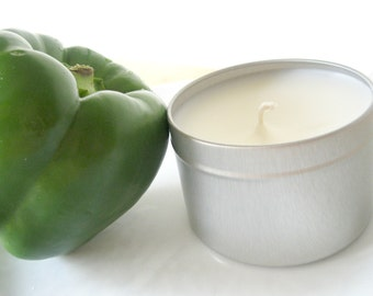 Green Pepper Candle Tin - Soy Blend - Silver 8oz Bell Pepper VEGAN Garden Fresh Candle