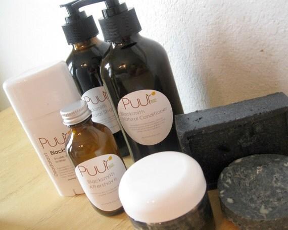 Complete Man Set - Blacksmith - Gift Set for Men - SLS free activated charcoal shampoo No poo method Paraben Free Conditioner