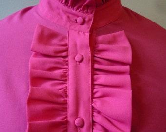 Vintage Azalea-Pink Ruffled Classic Tuxedo Blouse  FREE SHIPPING  in the USA