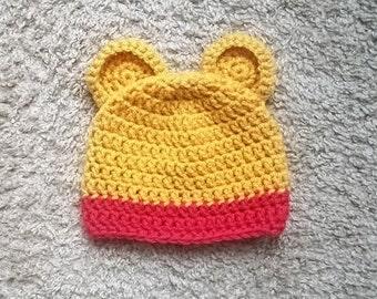 Baby Winnie the Pooh Hat, Newborn Winnie the Pooh Hat, Pooh Bear Hat, Newborn Photo Prop, Baby Bear Hat, Crochet Winnie the Pooh Hat
