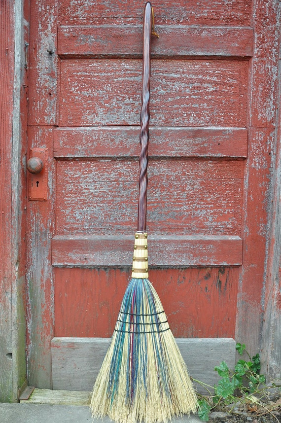 Handmade Kitchen Broom - Chocolate Brown