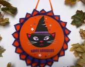 Halloween Black Cat Wall Decor - Holiday Wreath