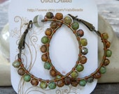 Picasso Bead Enhanced Brass Hoops Lovely Subtle Colors