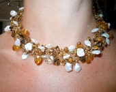 Hand Knitted Wire Necklace filled with Golden Crystals, Keshi Freshwater Pearls and Tigers Eye Truly Lovely