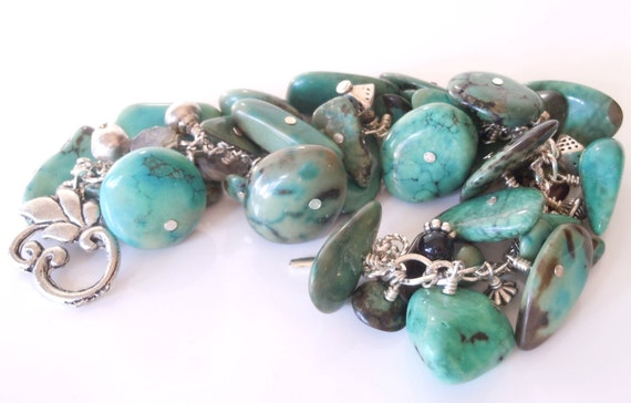 Special listing for Ruta ONLY Please: Chunky Chrysocolla and Silver Bracelet